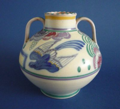Early CSA Poole Pottery PN Pattern 'Bluebird and Trellis'  Vase by Truda Carter c1925